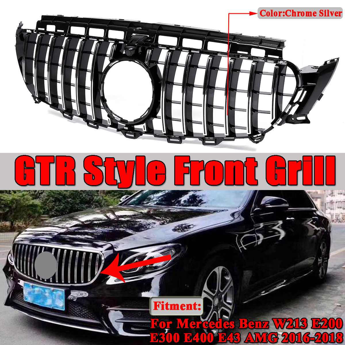 Mercedes E Class AMG W213 Front GTR Style Grill 2016-2019